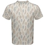 Whimsical Feather Pattern, Nature Brown, Men s Cotton Tee