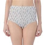 Whimsical Feather Pattern, Nature Brown, High-Waist Bikini Bottoms