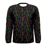 Whimsical Feather Pattern, Bright Pink Red Blue Green Yellow, Men s Long Sleeve Tee