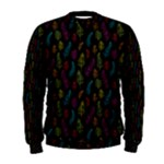 Whimsical Feather Pattern, Bright Pink Red Blue Green Yellow, Men s Sweatshirt