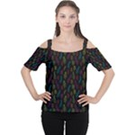 Whimsical Feather Pattern, Bright Pink Red Blue Green Yellow, Women s Cutout Shoulder Tee