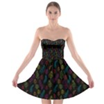 Whimsical Feather Pattern, Bright Pink Red Blue Green Yellow, Strapless Dresses