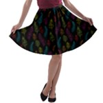 Whimsical Feather Pattern, Bright Pink Red Blue Green Yellow, A-line Skater Skirt