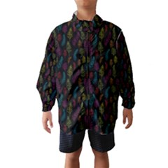 Whimsical Feather Pattern, Bright Pink Red Blue Green Yellow, Wind Breaker (kids) by Zandiepants