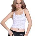 Whimsical Feather Pattern, soft colors, Spaghetti Strap Bra Top