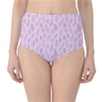 Whimsical Feather Pattern, pink & purple, High-Waist Bikini Bottoms