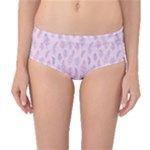 Whimsical Feather Pattern, pink & purple, Mid-Waist Bikini Bottoms