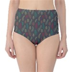 Whimsical Feather Pattern, autumn colors, High-Waist Bikini Bottoms