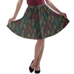 Whimsical Feather Pattern, autumn colors, A-line Skater Skirt