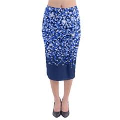 Blue Glitter Rain Midi Pencil Skirt by KirstenStar