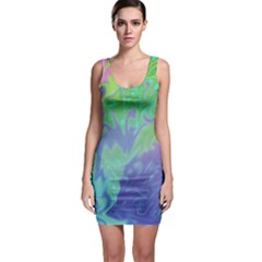 Green Blue Pink Color Splash Sleeveless Bodycon Dress by BrightVibesDesign