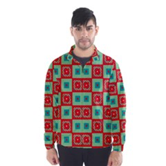 Blue Red Squares Pattern                                Wind Breaker (men) by LalyLauraFLM