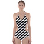 Black & White Zigzag Pattern Cut-Out One Piece Swimsuit