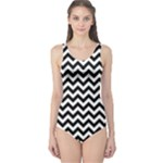 Black & White Zigzag Pattern One Piece Swimsuit