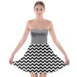 Black & White Zigzag Pattern Strapless Dresses