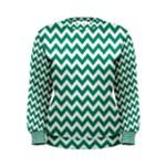 Emerald Green & White Zigzag Pattern Women s Sweatshirt
