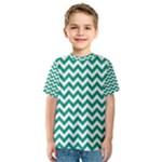Emerald Green & White Zigzag Pattern Kid s Sport Mesh Tee