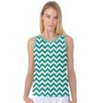Emerald Green & White Zigzag Pattern Women s Basketball Tank Top