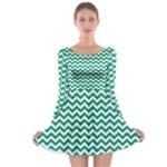 Emerald Green & White Zigzag Pattern Long Sleeve Skater Dress