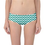 Emerald Green & White Zigzag Pattern Classic Bikini Bottoms