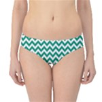 Emerald Green & White Zigzag Pattern Hipster Bikini Bottoms