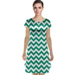 Emerald Green & White Zigzag Pattern Cap Sleeve Nightdress