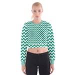 Emerald Green & White Zigzag Pattern Women s Cropped Sweatshirt