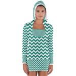 Emerald Green & White Zigzag Pattern Women s Long Sleeve Hooded T-shirt