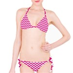 Hot Pink & White Zigzag Pattern Bikini Set