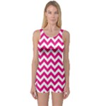 Hot Pink & White Zigzag Pattern One Piece Boyleg Swimsuit