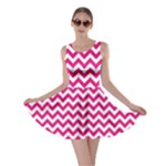 Hot Pink & White Zigzag Pattern Skater Dress