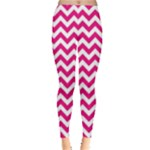 Hot Pink & White Zigzag Pattern Leggings