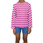 Hot Pink & White Zigzag Pattern Kid s Long Sleeve Swimwear