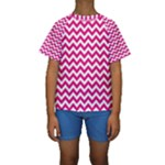 Hot Pink & White Zigzag Pattern Kid s Short Sleeve Swimwear