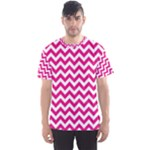 Hot Pink & White Zigzag Pattern Men s Sport Mesh Tee