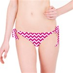 Hot Pink & White Zigzag Pattern Bikini Bottom