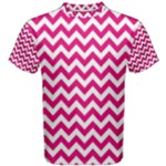 Hot Pink & White Zigzag Pattern Men s Cotton Tee