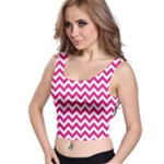 Hot Pink & White Zigzag Pattern Crop Top