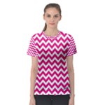 Hot Pink & White Zigzag Pattern Women s Sport Mesh Tee