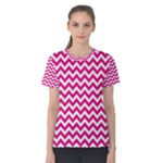 Hot Pink & White Zigzag Pattern Women s Cotton Tee