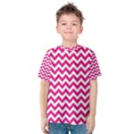 Hot Pink & White Zigzag Pattern Kid s Cotton Tee