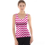 Hot Pink & White Zigzag Pattern Tank Top