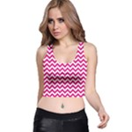 Hot Pink & White Zigzag Pattern Racer Back Crop Top