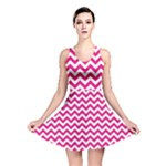 Hot Pink & White Zigzag Pattern Reversible Skater Dress