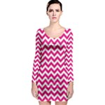Hot Pink & White Zigzag Pattern Long Sleeve Bodycon Dress