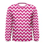Hot Pink & White Zigzag Pattern Men s Long Sleeve Tee