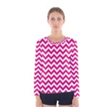 Hot Pink & White Zigzag Pattern Women s Long Sleeve Tee