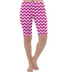 Hot Pink & White Zigzag Pattern Cropped Leggings