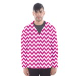 Hot Pink & White Zigzag Pattern Hooded Wind Breaker (Men)