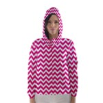 Hot Pink & White Zigzag Pattern Hooded Wind Breaker (Women)